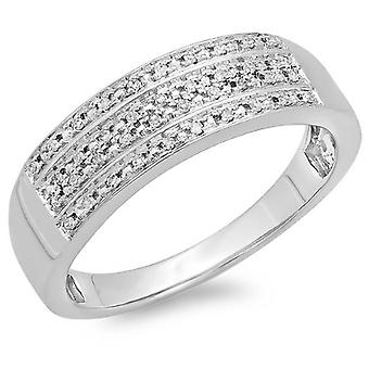 Dazzlingrock Collection 0.15 Carat (ctw) 14K Round Diamond Men's Micro Pave Wedding Anniversary Band Ring, White Gold