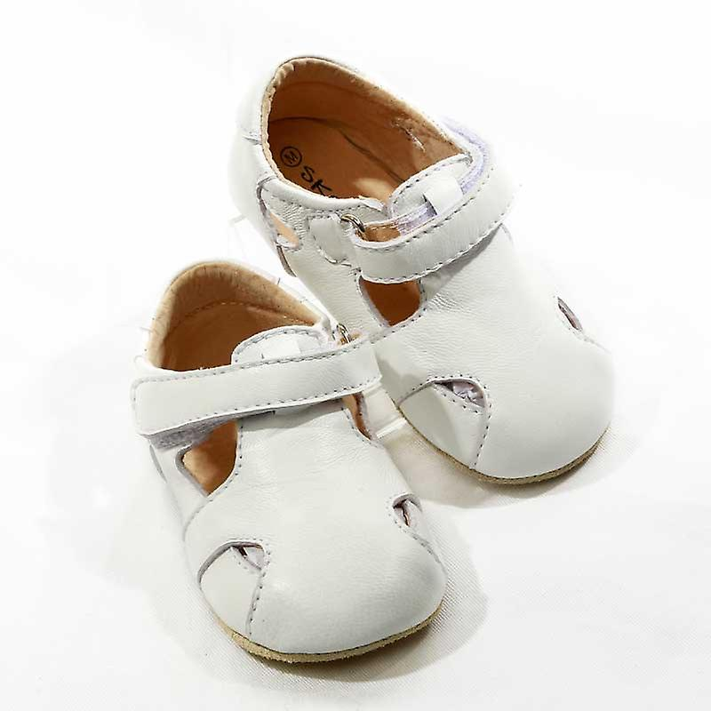 SKEANIE Leather Pre-walker Sunday Sandals in White