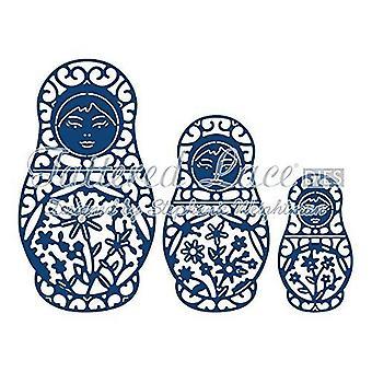 Tattered lace metal cutting die babushka Russian dolls d733