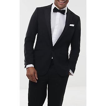 Dobell męskie czarny 2 szt Tuxedo Regular Fit 100% wełny Wycięcie klapy