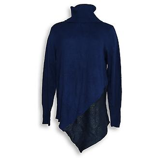 Du Jour Women's Sweater Turtleneck Foil Printed Navy A300215