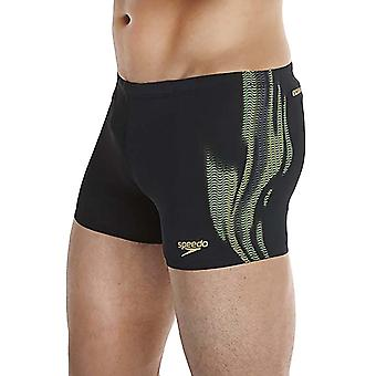 Speedo Mens LZR Placement Aqua Swim Swimming Pool Boxer Trunk Shorts - Black