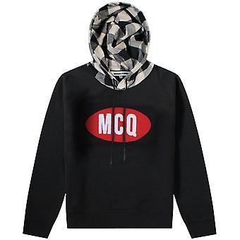 Mcq Alexander Mcqueen McQ Alexander McQueen Felt Logo Hoodie Black