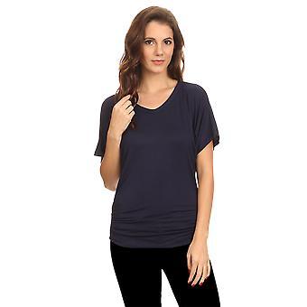 Women's Short Sleeve Shirt Loose Fit w/ Side Shirring