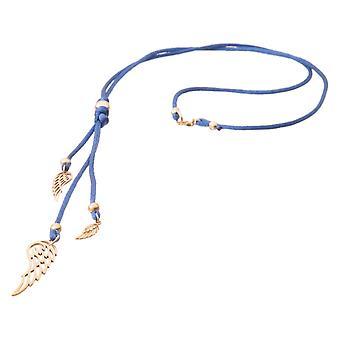 Gemshine kvinners halskjede anheng 925 sølv belagt blå WINGS 60 cm