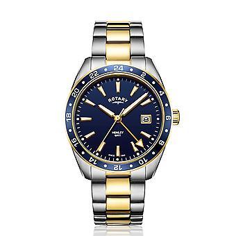 الروتاري GB05296-05 الرجال & ثانية اثنين لهجة هنلي بتوقيت جرينتش ساعة اليد