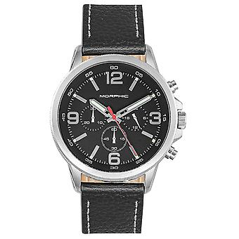 Morphic M86 Series Chronograph Leather-Band Watch - Argent/Noir