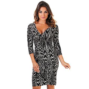KRISP Womens Aztec Tribal Print Cross Over Pleated Ruched V Neck Bodycon Dress