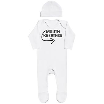 Mouth Breather, White Baby Romper, White Baby Bean Hat, Baby Pyjamas Gift, Baby Outfit Gift