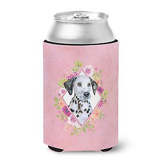 Carolines Treasures  CK4136CC Dalmatian Puppy Pink Flowers Can or Bottle Hugger