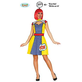 Generique Pop Art Kultur Comic Kostüm Kleid für Damen Karneval Halloween