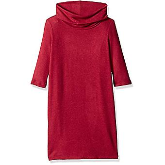 Crazy 8 Girls' Big Long Sleeve Casual Knit Dress, red/Burgundy Sunlit, L