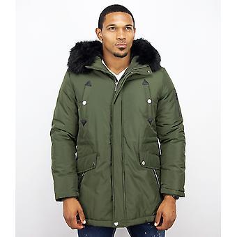 Long Parka Coat - With Fur Collar - Dark Green