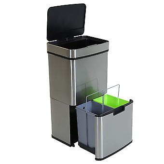 Charles Bentley Triple Compartment Acero Inoxidable 62L Sensor Papelera Reciclaje Residuos Basura Cubo Soft Close Timer Automático Tapa 75cm