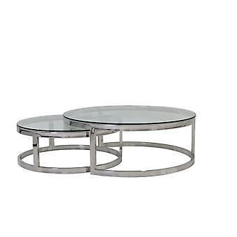 ضوء والمعيشة طاولة القهوة مجموعة من 2 100x35 و 79x29cm ميلاغرو زجاج النيكل