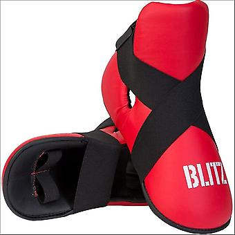 Blitz sports pro leather semi contact foot protector - red
