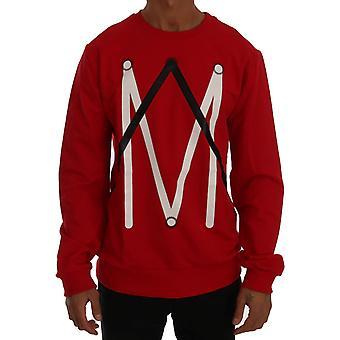 Frankie Morello Red Cotton Crewneck Pullover Sweater