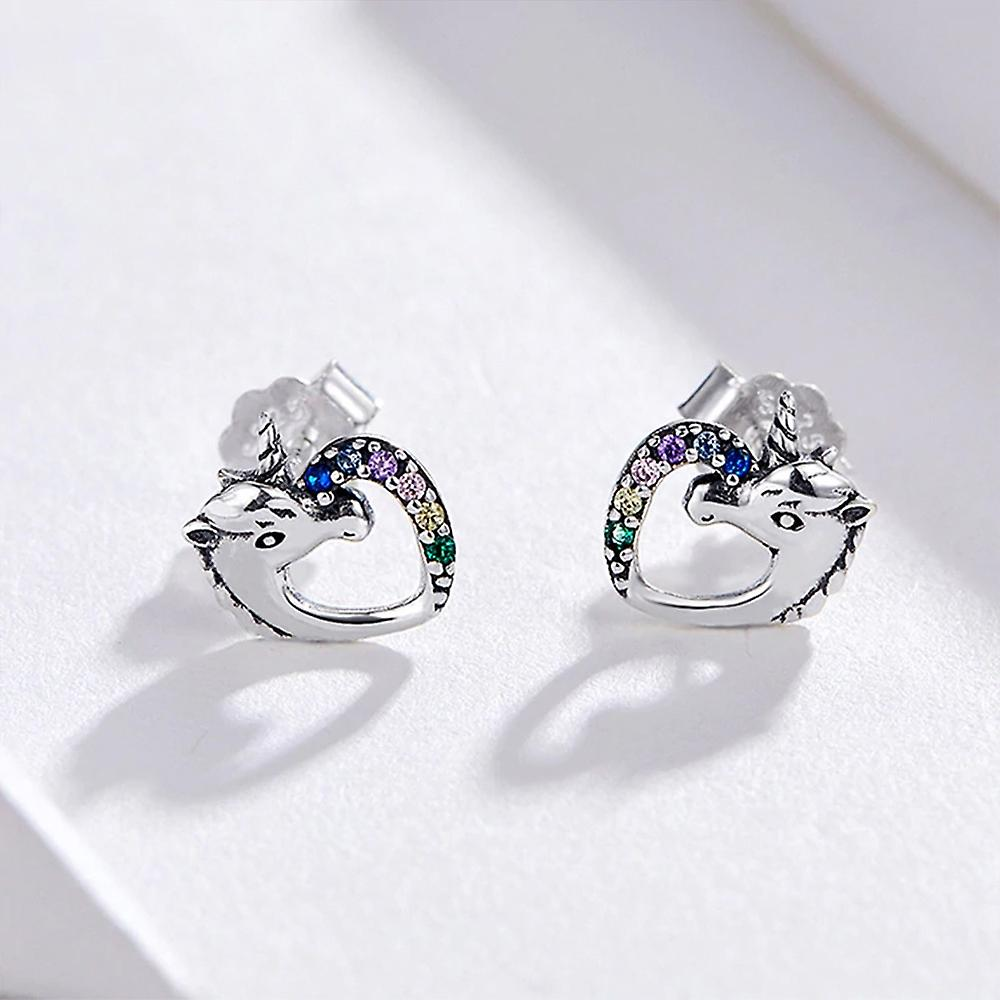 Unicorn Women's Earrings adorned with multicolored Swarovski Crystal and Silver 8347
