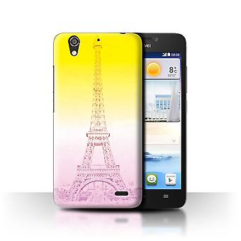 STUFF4 Case/Cover for Huawei Ascend G630/Eiffel Tower Sktech/Vivid Ombre