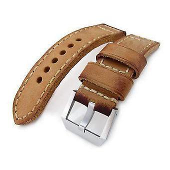 Strap strap de montre en cuir Strapcode 24mm miltat maison de montre vintage vintage veau, peint à la main, points de main