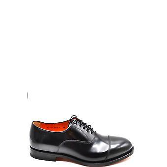 Santoni Ezbc023015 Women's Black Leather Lace-up Shoes