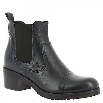 Leonardo Shoes Women's handgemaakte hiel ronde teen enkellaarzen donkerblauw leer