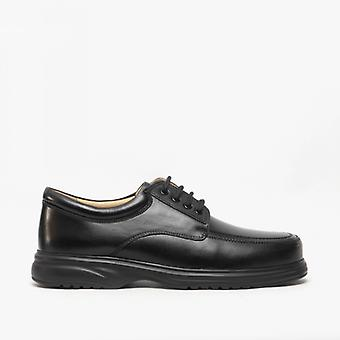Roamers Lowell Mens Cuir Wide E Fit Chaussures Noir