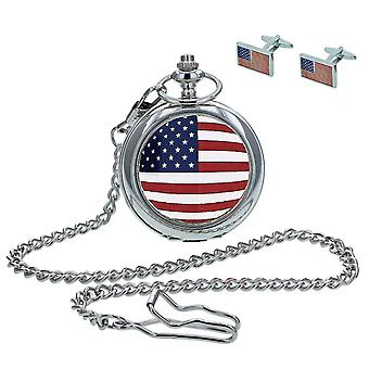 """Boxx American Flag Pocket Watch With 12"""" Chain + Cufflinks Ideal Xmas Gift Set"""