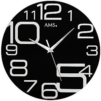 AMS 9461 Wall clock Quartz analog black round modern