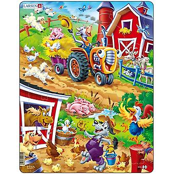 Larsen Jigsaw Puzzle - Happy Days For The Barnyard Animals, 22 Piece