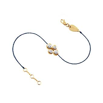 Bracelet Quatuor 18K Gold and Diamonds, Full Thread - Yellow Gold, NavyBlue