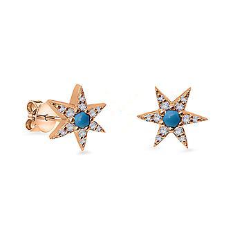 Korvakorut Stud Turkoosi Tähti 18K Kulta ja timantit (yksi kappale)