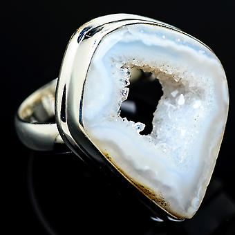 Coconut Geode Druzy Ring Size 7 (925 Sterling Silver)  - Handmade Boho Vintage Jewelry RING7429