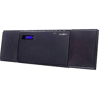 מערכת שמע מסוג המערכת Bluetooth, תקליטור, בו, FM, USB, AUX, מרובעים של הר הקיר 2 x 15 W פחם