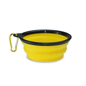 Sammenleggbar hund-vann bolle-gul