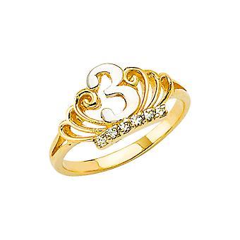 14k Ouro Amarelo 3 Anos Meninos e Meninas CZ Zircônia Cúbica Simulado Anel da Coroa de Diamante Tamanho 3