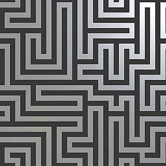 Glistening Maze Wallpaper Black / Silver Holden 12912