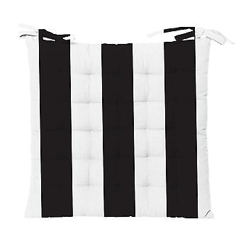 Outdoor Stripe Chair Pad 40x40cm Black