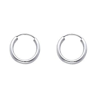 14k White Gold 2mm Round Tube Polished Endless Hoop Earrings 15mm Jewelry Gifts for Women - .6 Grams