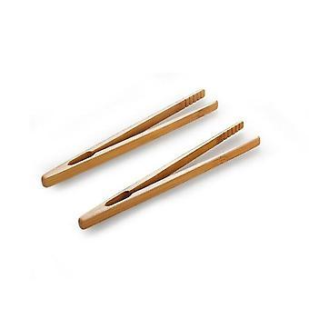 2Pcs Bamboo Teaware Tea Clips - Wood Toast Tong Wooden Toaster Bagel  Bacon Squeezer Sugar Ice Tea Tongs 18CM-Tea Clips