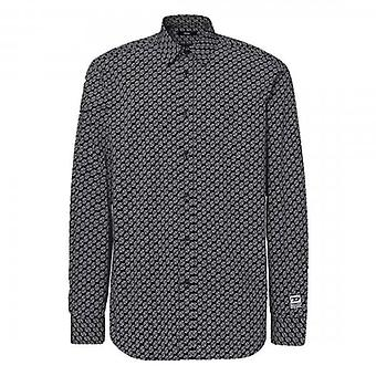 Diesel S-Riley-KA Long Sleeved Logo Printed Shirt Black