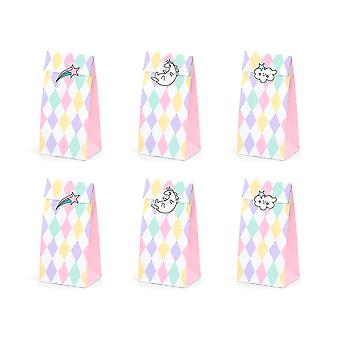 6 Unicornio Wish Paper Party Treat Bags