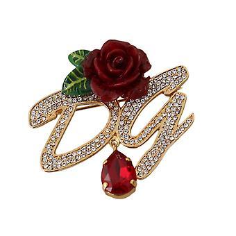 Dolce & Gabbana Gold Plated Brass Red Rose pin Brooch -- SMY5788144