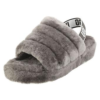 UGG Fluff Yeah Slide Womens Slippers Sandals in Charcoal