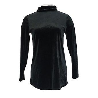 Belle by Kim Gravel Women's Top (XXS) Velvet Tunic Black A343367