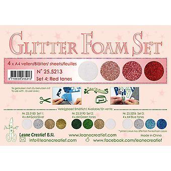 Leane Creatief Glitter Foam A4 Set 4 Red Tones