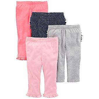Simple Joys by Carter's Baby Girls 4-Pack Pant, Pink/Grey/Navy Ruffle, Newborn