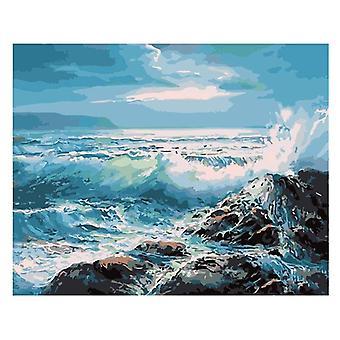 Sea Wave Rock Haitian Lin Scenery Diy Digital Painting By Numbers Modern Wall