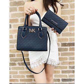Michael kors mott small satchel admiral blue mk signature + trifold wallet