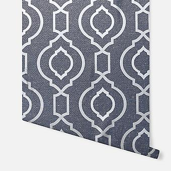 921402 - Calico Trellis Navy - Arthouse Bakgrunn